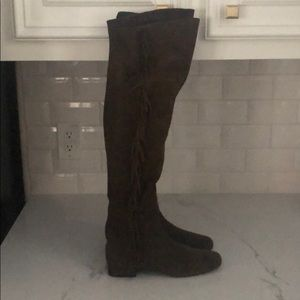 Authentic Saint Suede Fringe Over the Knee Boots